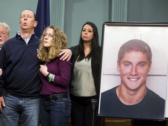 The parents of Timothy Piazza in Bellefonte, Pa., on May 5, 2017.