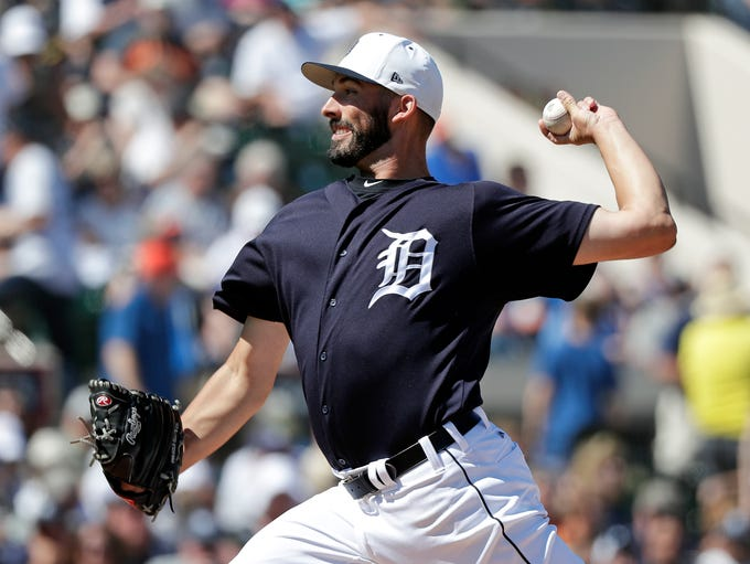 Detroit Tigers' Ryan Carpenter pitches against the