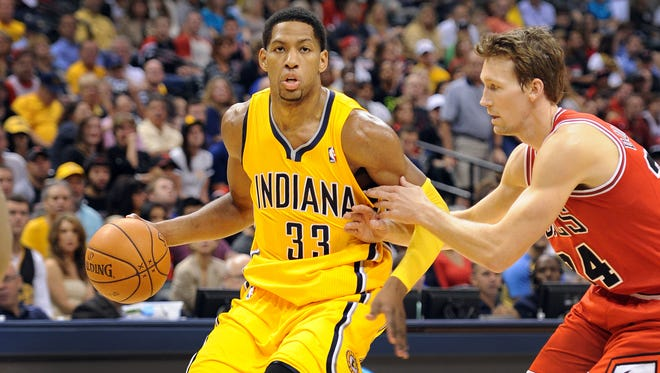 Danny Granger of the Pacers during a preseason game.