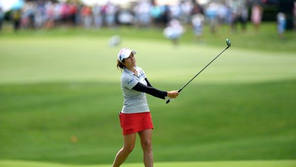 Marina Alex of Wayne, NJ hits her approach shot on
