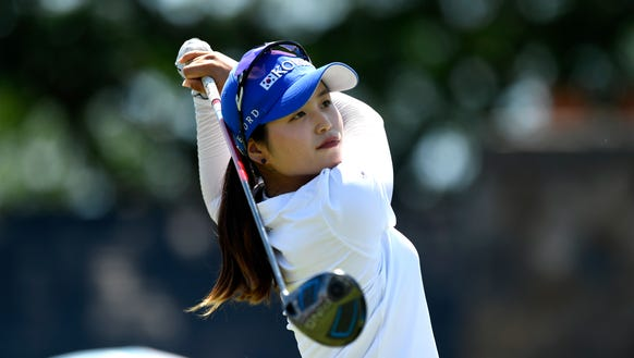 Hye-Jin Choi, 17 of South Korea, tees off at Hole 1