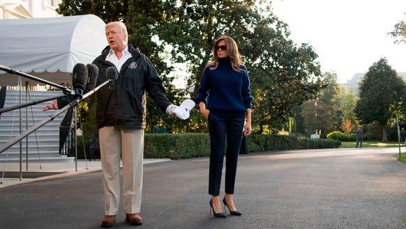 President Trump and Melania before boarding Marine