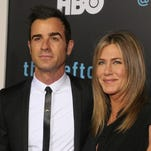 Justin Theroux and Jennifer Aniston attend the Season 2 premiere of HBO's 'The Leftovers' during the ATX Television festival at the Paramount Theatre on Oct. 3, 2015 in Austin, Texas.