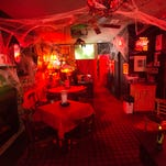 Time is running out to celebrate Halloween at the Elbow Room's the Séance Room and Dinner Theatre in Brownsville. The Elbow's Séance Room is decorated in a spooky theme for the holiday and features an old projector playing B/W horror movies.