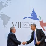President Obama shakes hands with Cuba's President Raul Castro during a meeting on the sidelines of the Summit of the Americas on April 11, 2015 in Panama City.