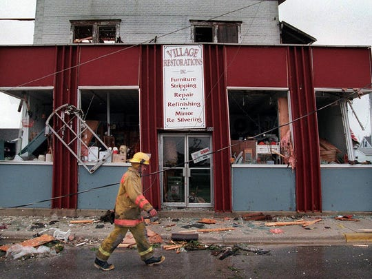 Fifteen years ago on May 12, St. Nazianz was hit by the strongest storm in memory. Most of the buildings were damaged — many of which were destroyed beyond repair — and debris littered the streets.
