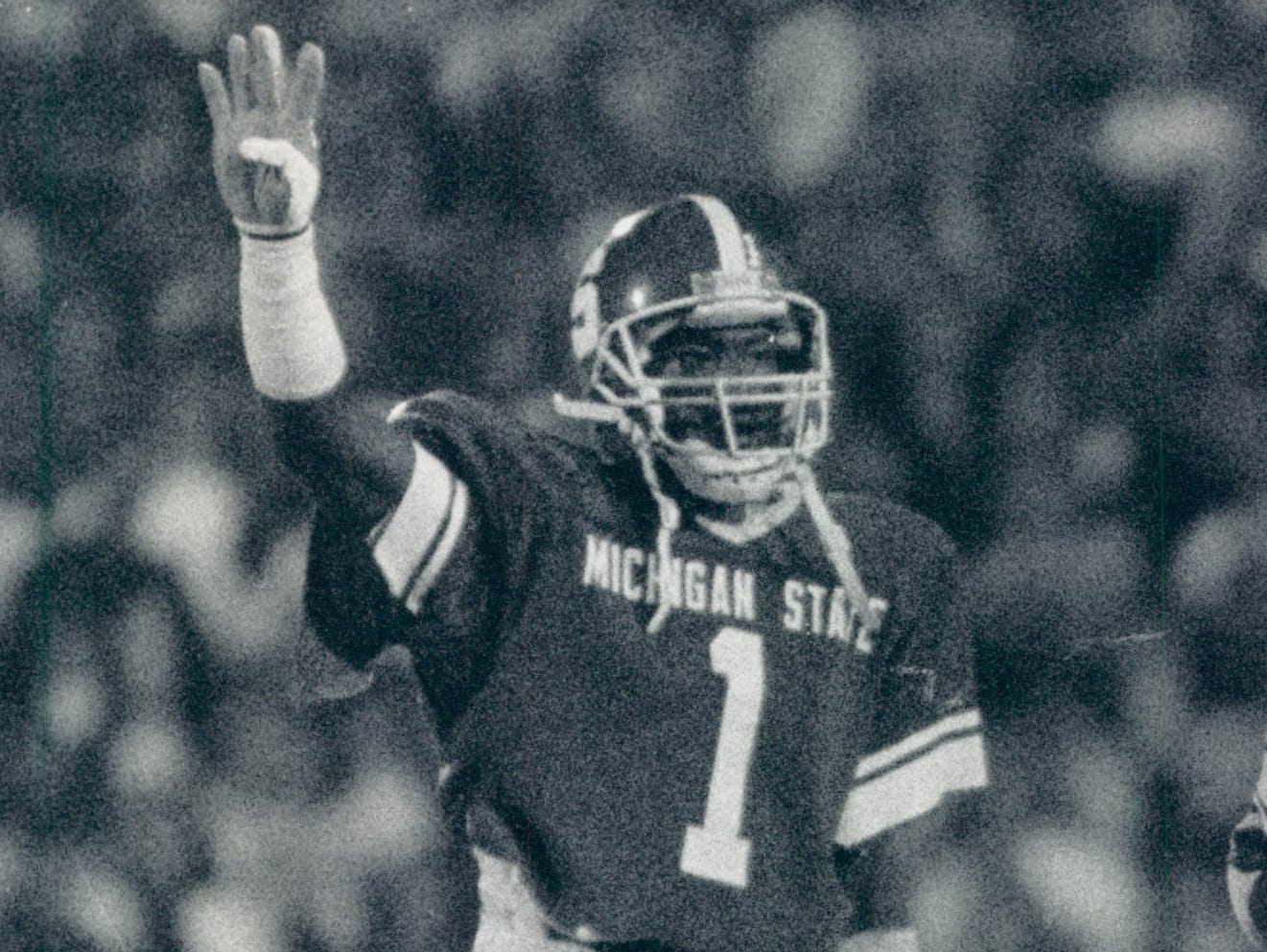 Andre Rison celebrates a play in 1982 at Spartan Stadium.