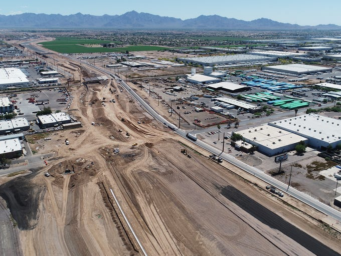 Aerial drone view of the Loop 202 construction looking