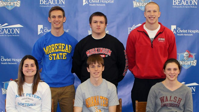 Six Kings High School students made commitments to play their sport in college. They are, from left front: Sydney Ramsey; L.J. Brant, Samantha Paulson; back row: Adam Woeste, Tyler LeClair, and Tommy Bruns.