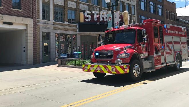 A firetruck investigated smoke at the State Theater on Friday afternoon.