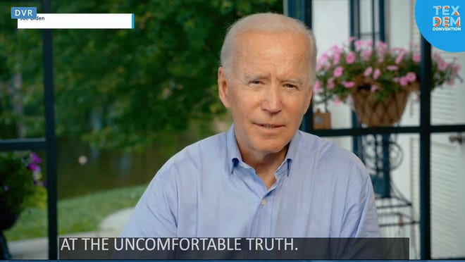 Joe Biden, who has clinched the Democratic nomination for president, spoke to Texas Democrats' virtual state convention Saturday via a recorded message.