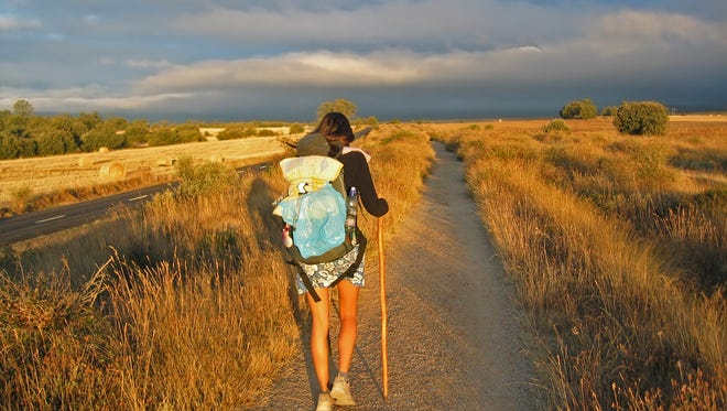 A hiker on the 500-mile Camino de Santiago
