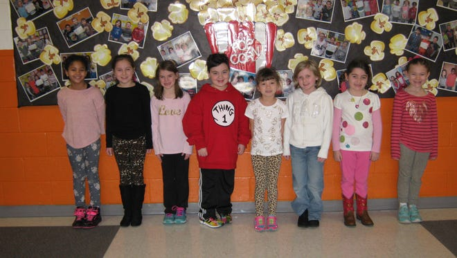 Second-graders named Students of the Month for February at Janvier School in Franklin are: (from left) Danae Woodson, Alaina Stiteler, Ranae Haney, Blaise Leonardo, Kaitlyn Haferl, Riley Ranson, Brianna Petronglo and Frieda Nichols.