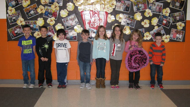 First-graders named Students of the Month for February at Janvier School in Franklin are: (from left) Milo Gebhard, Zachary Natalie, Noah King, Jackson Foster, Emily Ehrler, Olivia Spera, Adrianna Pina and Liam Sinclair.