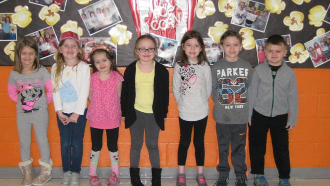 Kindergartners named Students of the Month for February at Janvier School in Franklin are: (from left) February Students of the Month for Mary F. Janvier School are: Penelope Tomczak, Isabella Smith, Emmalee Brown, Bella Watson-Munyon, Olivia Smith, John Bowker and Brian Fertig. Joseph Price is not pictured.