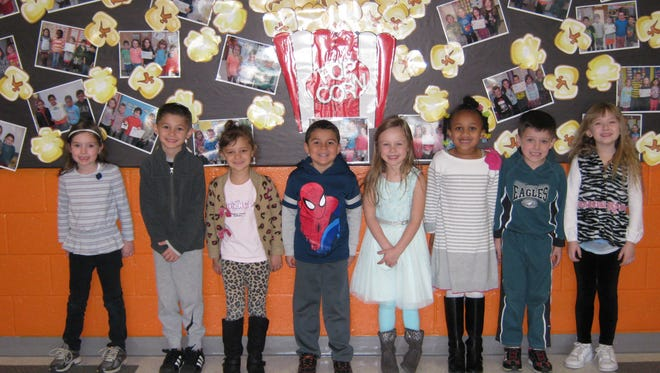 Kindergartners named Students of the Month for March at Janvier School in Franklin are: (from left) Kaylin Thorn, Giuseppe Impellizzeri, Katelyn Bergamo, Brayden Lopez, Ella Jernegen, Skye Gould, Patrick Driscoll and Leyna Gaestel.