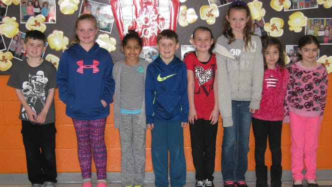 Second-graders named Students of the Month for March at Janvier School in Franklin are: (from left) Gavin Witz, Leah Dempsey, Camille Richardson, Dominic Montana, Michaela McLaughlin, Addison Black, Madelyn Carr and Gianna LaGamba.