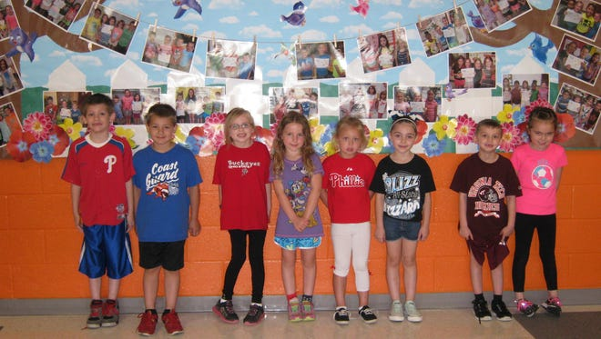 Kindergartners named Students of the Month for May at Janvier School in Franklin are: (from left) Robert Davis, Giovanni Crescitelli, Cecilia Giacobbe, Emma Huesser, Kayla Sundberg, Jemma Gaetano, Tyler Crockett and Samantha White.