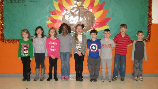 Second-graders named Students of the Month for November at Janvier School in Franklin are: (from left) Adrianna Pina, Mackenzie Brown, Savana Hill, Tatiyana Matthews, Lillianna Ellison, Noah King, Dennis Monzo, Tanner Diaz and John Murphy.