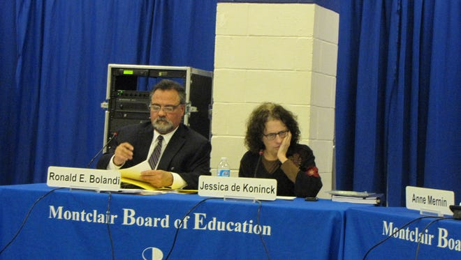 Montclair Board of Education President Jessica de Koninck, right, and Montclair interim Schools Superintendent Ron Bolandi, left, at the Montclair BOE meeting on Monday, January 23.