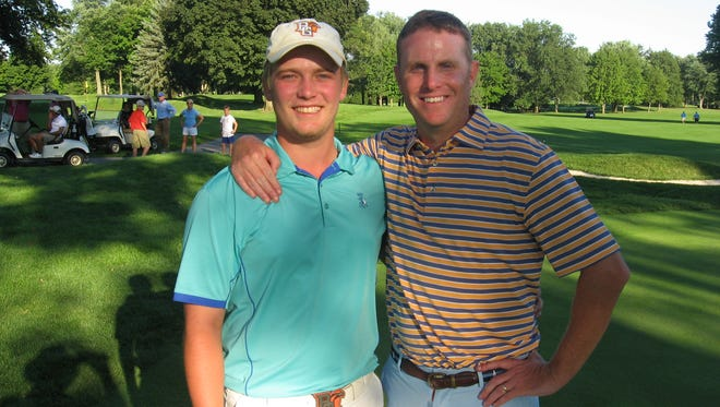 Noah Firestone, left. and Chris Gebhard were all smiles after capturing the championship of the 72nd W.B. Sullivan Invitational Four-ball at Lebanon Country Club on Sunday.