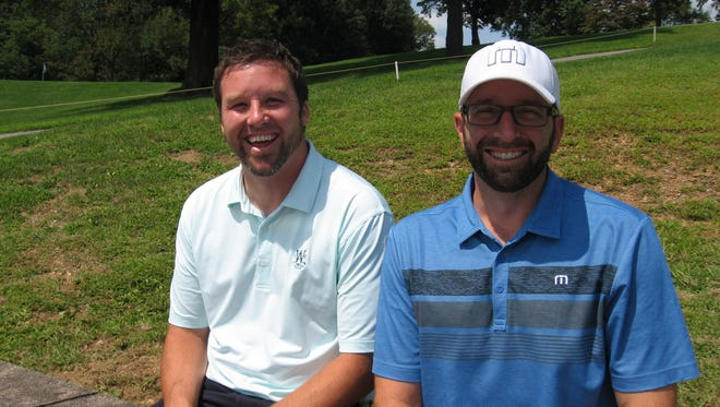 Mike Schmidt, Jr., left, and Pete Parpagene took the early lead at the Lebanon County Better Ball on Saturday after shooting a 64.