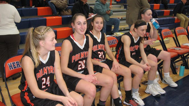 Palmyra starters, from left, Jess St. Clair, Annabelle Copeland, Lauren Wadas, Amelia Baldo and Olivia Richardson were apprehensive prior to taking the court Tuesday at Hershey.