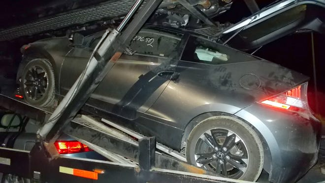 The black Honda CRZ that concealed over $1M in heroin that was discovered at a U.S. Border Patrol checkpoint near Alamogordo, NM.