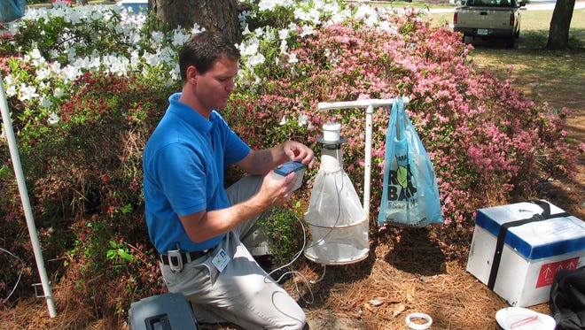 Chris Evans, state public health entomologist with the SC Department of Health and Environmental Control, checks a mosquito pool for infections.