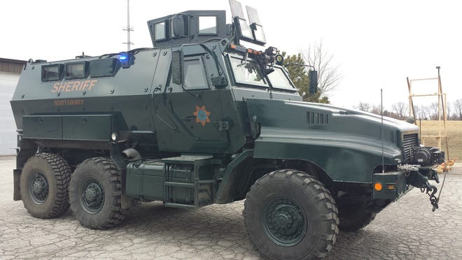 Scott County received its MRAP last year and already has emblazoned it with civilian law enforcement lights and decals.