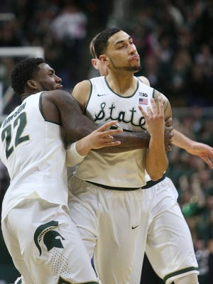 Michigan State's Denzel Valentine celebrates his game-winning three-point shot against Ohio State on Saturday, February 14, 2015 at the Breslin Center in East Lansing.