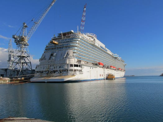 The 3,560-passenger Regal Princess under construction at the Fincantieri shipyard in Monfalcone, Italy.