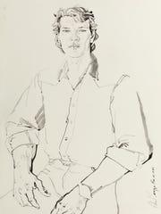 """""""Patrick Swayze,"""" 1985, ink on paper by Don Bachardy."""