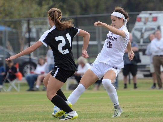 Franklin's Harper White (right) and Houston's Cara Young (left) battle for possession during last year's Class AAA semifinals at Richard Siegel Soccer Complex.