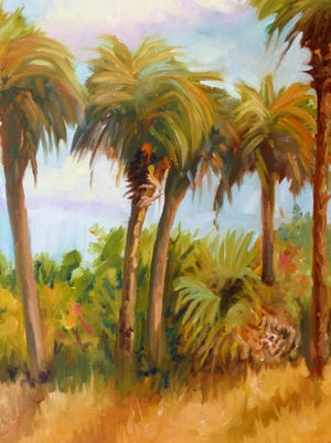 """The landscape paintings of Joyce Laeser will be featured during the performances of """"A Christmas Cactus,"""" The Marco Players' second production of the season."""