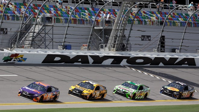 """NBC will use a """"bat-cam"""" that will be rigged to zoom along Daytona International Speedway's backstretch above the racing."""