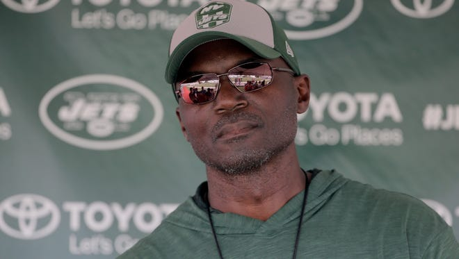 New York Jets head coach Todd Bowles talks to reporters after a practice at the NFL football team's training camp in Florham Park, N.J., Sunday, July 29, 2018. (AP Photo/Seth Wenig)