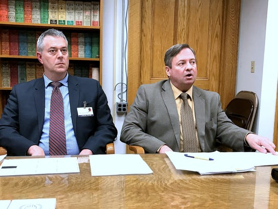Elmira Mayor Dan Mandell, right, and City Manager Michael
