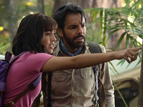 "Dora (Isabela Moner) and Alejandro (Eugenio Derbez) team up for adventure in ""Dora and the Lost City of Gold."""