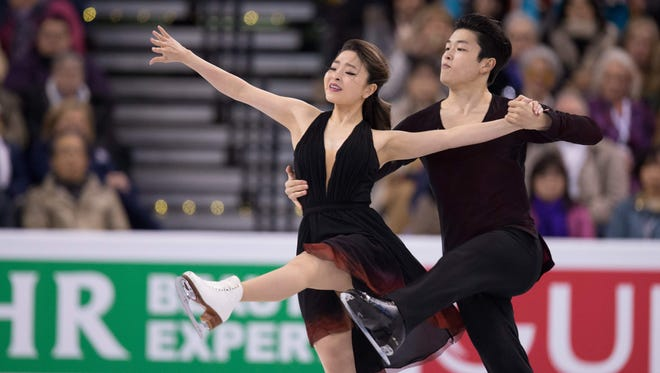 Maia Shibutani and Alex Shibutani of the United States perform their free dance in the Ice Dance competition at the ISU World Figure Skating Championships at TD Garden in Boston on Thursday.