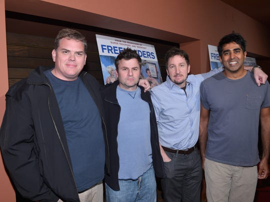 Kevin Heffernan, left, and Steve Lemme, second from left, of the Broken Lizard comedy team will do two shows May 3 at Green Bay Distillery.