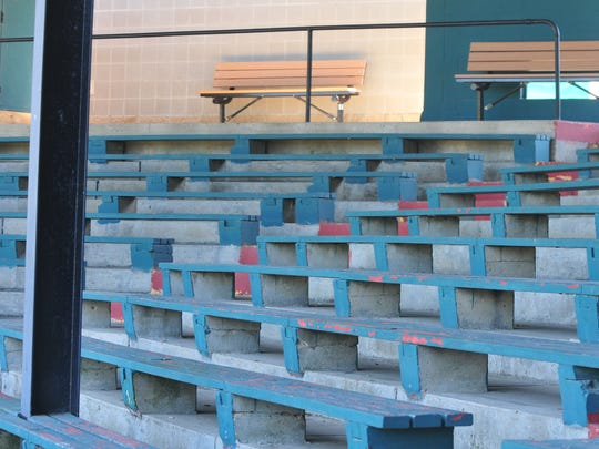 The benches that make up the bulk of the seating at