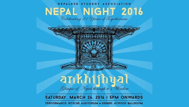 Nepal Night 2016 will begin at 5 p.m. Saturday in Ritsche Auditorium.