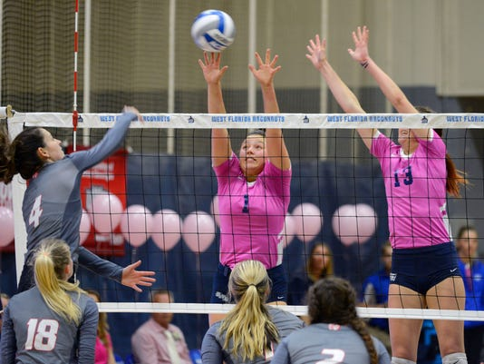 UWF Volleyball Pack It Pink Game 5
