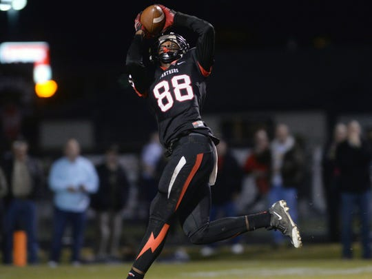 Parkway's Terrace Marshall Jr. pulls in a pass that