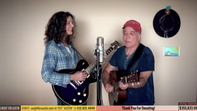 "Edie Brickell and Paul Simon sing together during ""A Night For Austin,"" a streaming fundraiser that aired Wednesday, June 10."