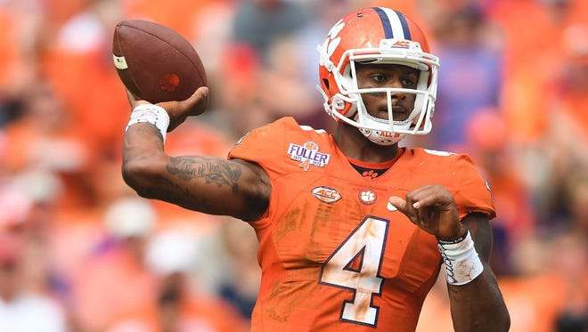 Clemson quarterback Deshaun Watson (4) will throw in front of NFL scouts again during Thursday's pro day at Clemson's indoor practice facility.