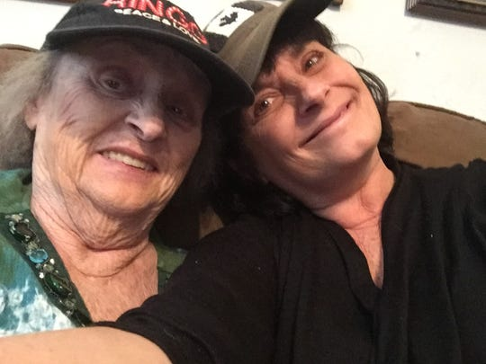 """FLORIDA TODAY journalist Britt Kennerly, right, clowns around with her mother, Helen Harney, in an April 2017 photo. Helen, who had vascular dementia, was featured in FLORIDA TODAY in """"The Long Goodbye"""" in March 2018."""