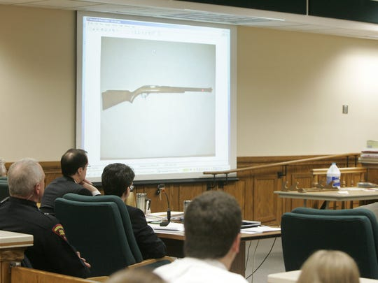 Photo of a rifle found in Steve Avery's bedroom is shown in the courtroom at the Calumet County Courthouse on Feb. 20, 2007.