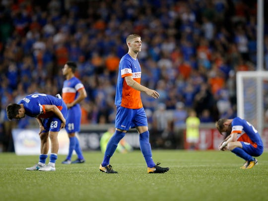 FC Cincinnati defender Harrison Delbridge (4) leaves